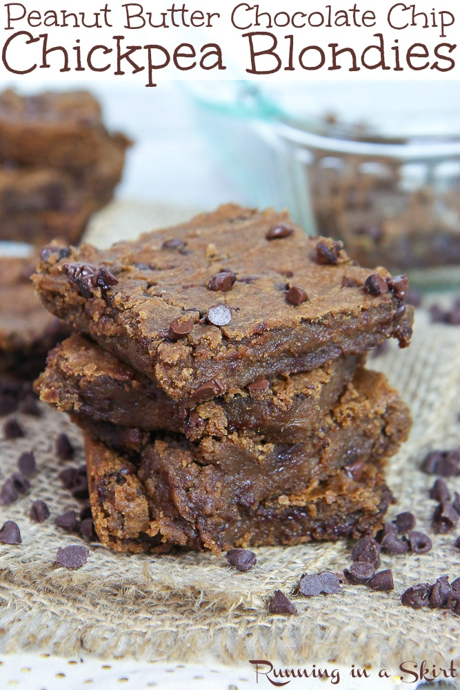 Healthy & Vegan Peanut Butter Chocolate Chip Chickpea Blondies recipe - a flourless, low calorie and easy dessert!  Made with maple syrup.  So rich and chewy!  You'll love these blonde brownies! / Running in a Skirt #blondies #healthy #healthybaking #vegan #chickpeas #recipe #peanutbutter via @juliewunder