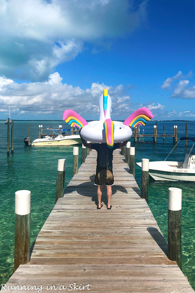 What to do in Hope Town Bahamas - bring a unicorn float!