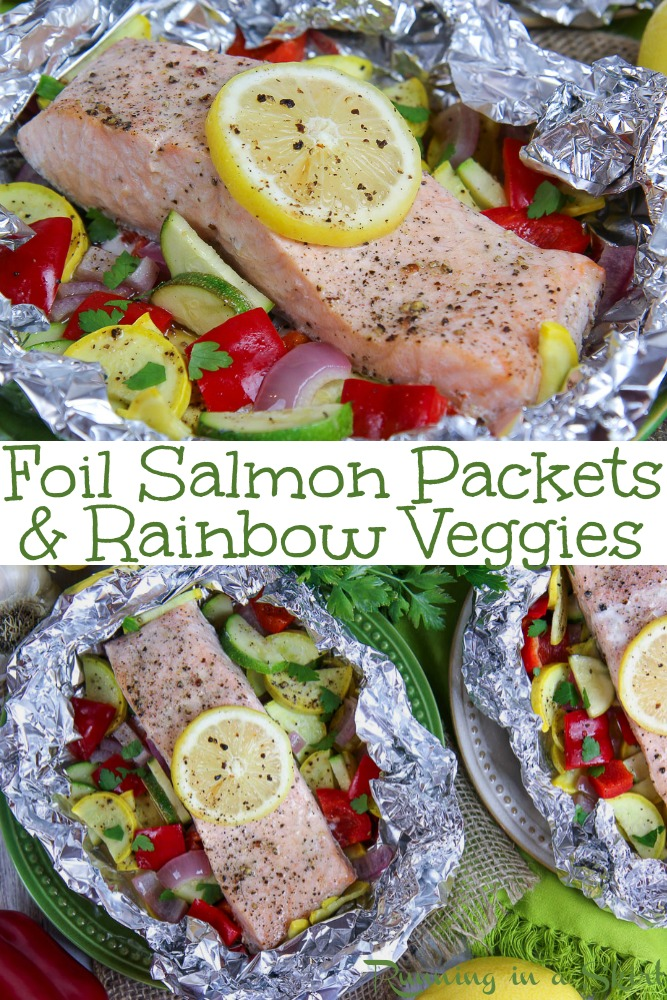 Foil Salmon Packets & Rainbow Vegetables recipe - with lemon butter! Veggies and fish cooked in the oven or on the grill. Perfect for cooking healthy dinners! / Running in a Skirt #recipe #healthy #salmon #grilling #pescatarian #foilpackets via @juliewunder
