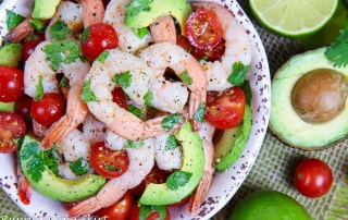 Shrimp, Avocado, tomato and cilantro