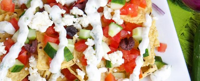 Vegetarian Greek Nachos with Tzatziki Sauce recipe