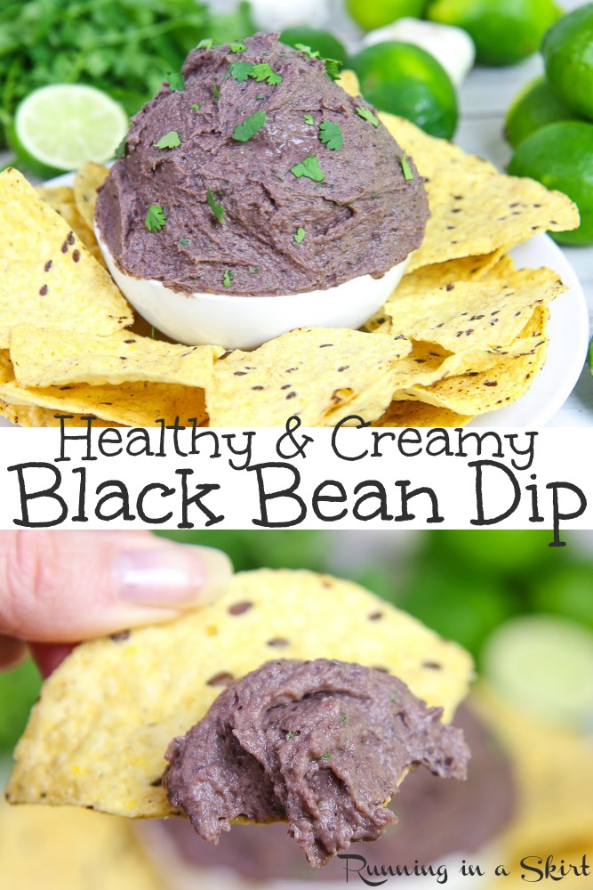 Healthy & Creamy Black Bean Dip recipe- Easy, Mexican - Southwestern style cold dip or spread with cilantro and greek yogurt. Perfect with tortilla chips. / Running in a Skirt #recipe #healthy #blackbeans #greekyogurt #dip #footballfood via @juliewunder
