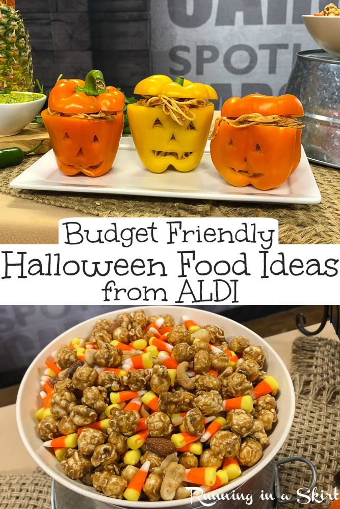 Halloween on a budget?  Try these 5 Budget Friendly Halloween Food / DIY Ideas!  Includes great party ideas for kids and for adults.  All recipes from ALDI! / Running in a Skirt #AD #ALDILove #ALDI #ALDIFinds #Budget #Halloween via @juliewunder
