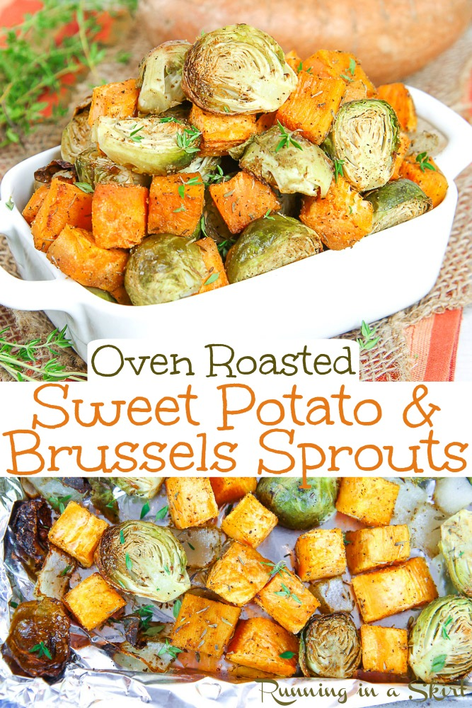 Oven Roasted Sweet Potato and Brussels Sprouts recipes - the perfect recipe for healthy dinners. Made on a sheet pan for easy clean up. / Running in a Skirt #sheetpan #recipe #healthy #sweetpotato #brusselssprouts #fall #sidedish via @juliewunder