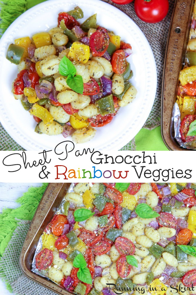 Sheet Pan Gnocchi and Vegetables recipe - no cleanup, healthy & EASY vegetarian dinner idea!  Oven baked to crispy perfection with your favorite rainbow veggies.  Gluten free and vegan friendly. / Running in a Skirt #vegetarian #vegan #sheetpanmeal #easydinner #recipe #easyrecipe #glutenfree via @juliewunder