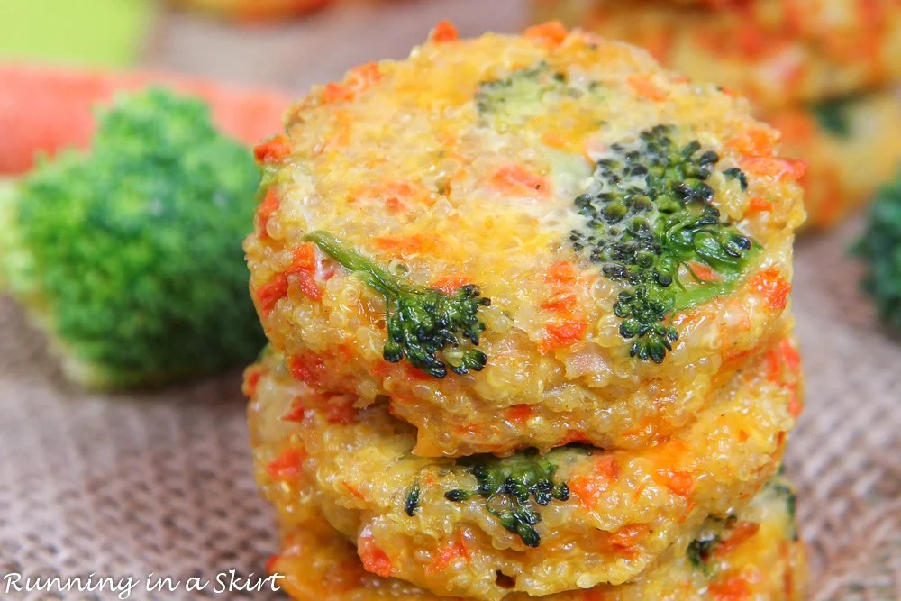 Closeup of broccoli quinoa patties with cheese and carrots.