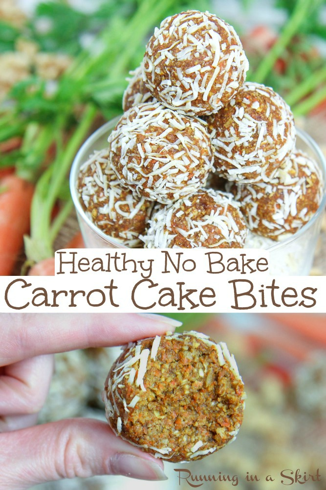 Healthy No Bake Carrot Cake Bites recipe - raw vegan and super easy to make.  Tastes like carrot cake desserts but in a clean eating package. Topped with coconut. / Running in a Skirt #cleaneating #vegan #dairyfree #vegetarian #healthy #dessert #carrotcake #raw via @juliewunder