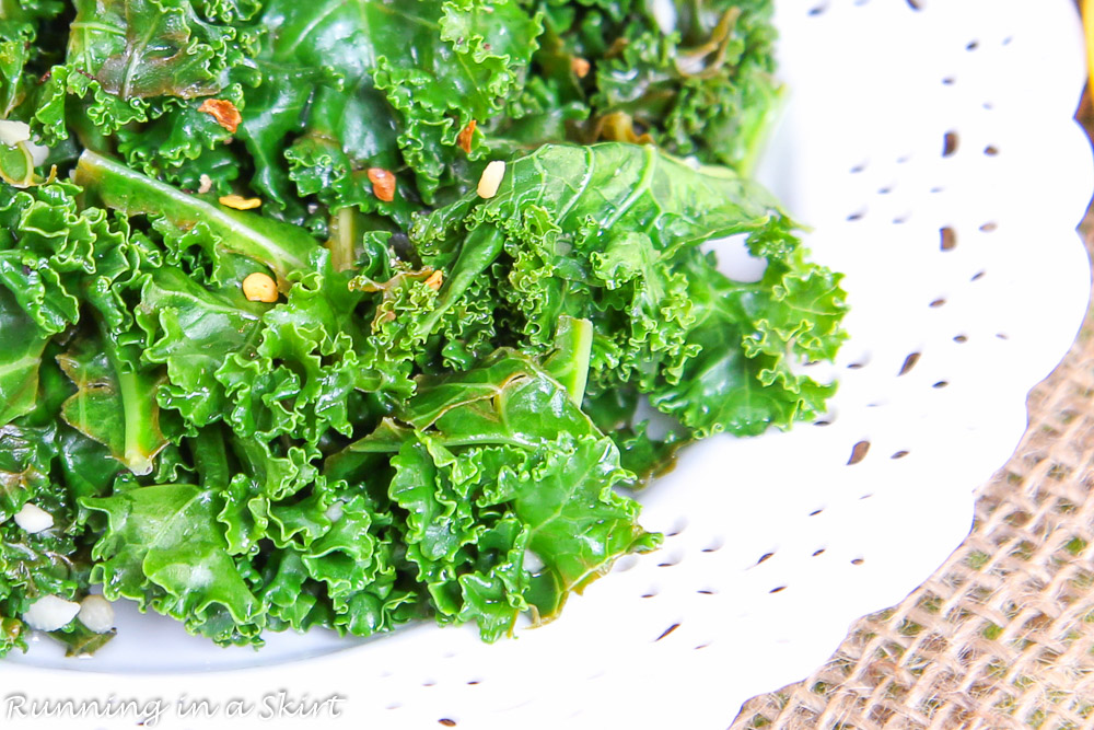 close up of lemon kale cooked with olive oil and garlic.