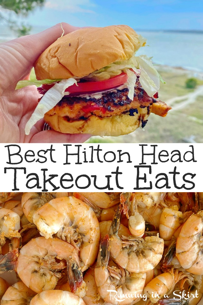 Best Takeout Restaurants on Hilton Head Island South Carolina. The best island restaurants and food for takeout or carryout. Includes options for a family vacation or kids where eating out is hard. Lots of seafood dinners options including Hudson's, Red Fish, Charlies, and Marley's Shrimp Shack. / Running in a Skirt #travel #hiltonhead #sc #foodie #beach #hiltonheadisland via @juliewunder