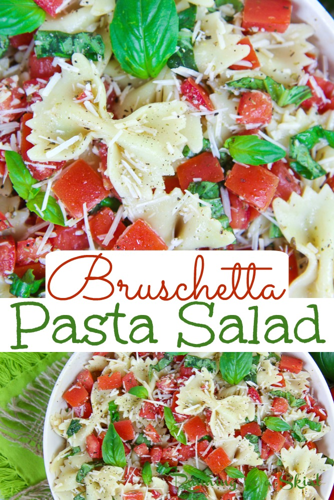 Bruschetta Pasta Salad recipe - This cold and healthy summer pasta salad is packed with tomato, basil, parmesan, and Italian flavors. It's the perfect Vegetarian Pasta Salad. / Running in a Skirt #healthy #recipe #vegetarian #bruschetta #pastasalad via @juliewunder