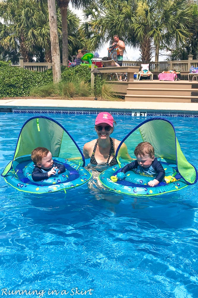 Babies in pool with SwimWays Floats.