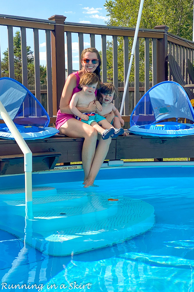 Toddler Swim Safety ideas with Mom holding twins.