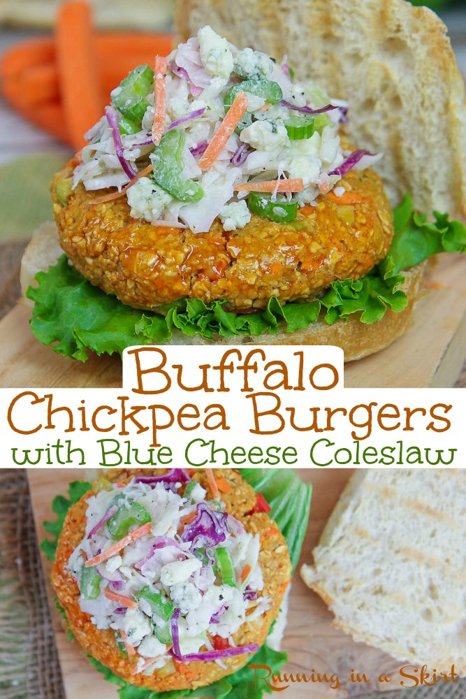 The Best Buffalo Chickpea Burger recipe with Blue Cheese Cole Slaw - Easy, healthy and simple homemade veggie patties. These spicy veggie burgers are perfect for a bbq. Cooked stovetop or grilled. Vegan option included in recipe. / Running in a Skirt #healthy #veggieburger #4thofjuly #buffalo #vegan #vegetarian via @juliewunder