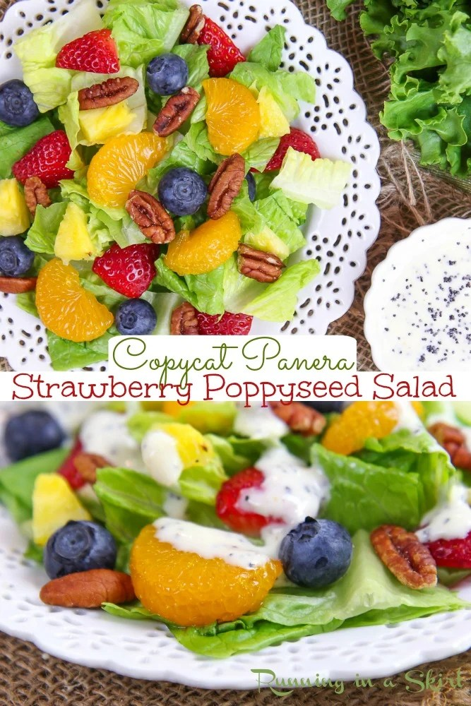 Copycat Panera Strawberry Poppyseed Salad recipe- Includes a Healthy Greek Yogurt Poppyseed Salad Dressing like Panera Bread that is sweetened with honey instead of sugar. A healthy dinner or lunch salad with chicken or without chicken for a vegetarian option. / Running in a Skirt #Panera #copycat #healthy #salad #vegetarian #strawberry via @juliewunder