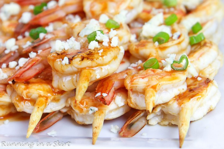 wooden skewers with shrimp.