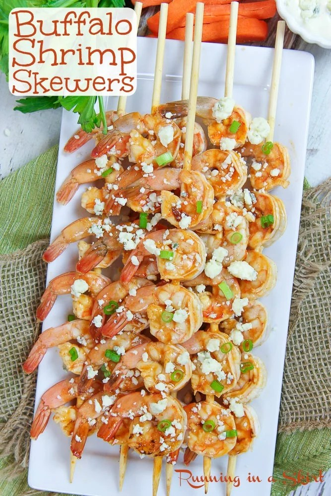 Buffalo Shrimp Skewers recipe pinterest pin.