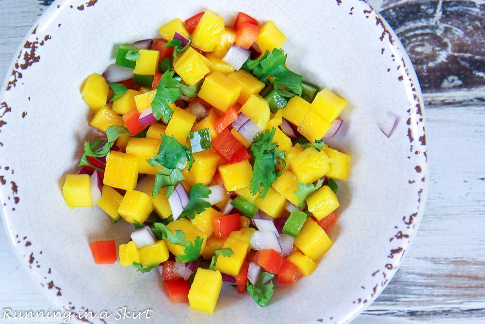 Chopped fruit for the mango salsa.