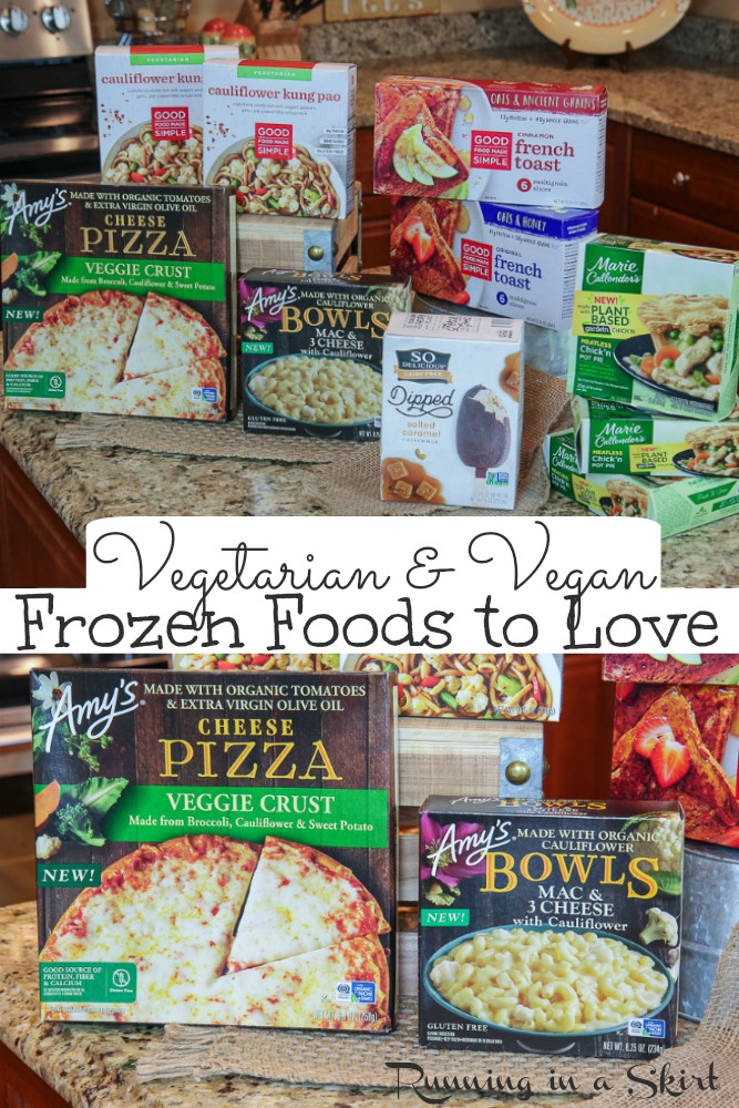 Vegan and Vegetarian Frozen Food to Love! These frozen food ideas are great for freezer meals or to stock up on for your next grocery list. If you are meatless these are the best frozen foods to buy. / Running in a Skirt #AD @conagrabrands @so_delicious @mariecallenders @gardein #Amyskitchen #meatless #vegetarian #vegan #healthyliving via @juliewunder