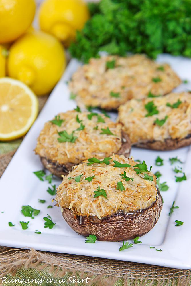 Healthy Crab Stuffed Portobello Mushrooms with lemons and parsley.
