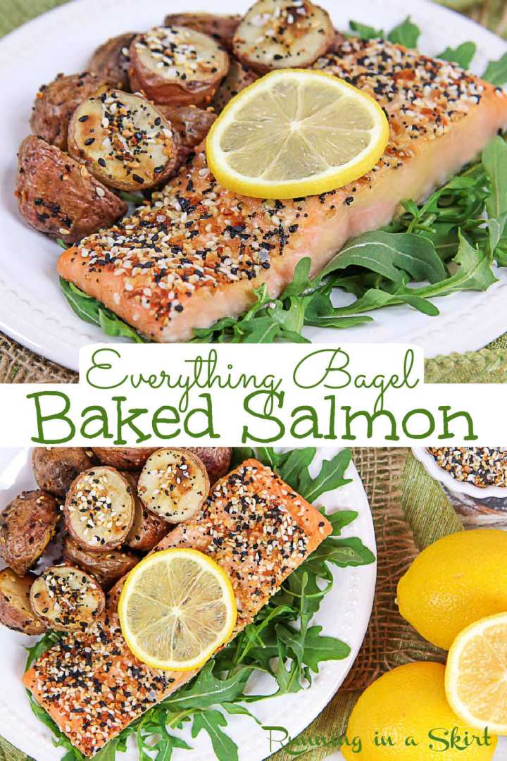 Everything Bagel Salmon Recipe - a healthy oven baked salmon with Everything But the Bagel Seasoning. If you are looking for clean eating, easy, healthy salmon recipes this is it! Only 5 Ingredients and ready in 20 minutes. It's the perfect pescatarian, low carb and gluten free meal. Uses the Trader Joe's spice or your own DIY version. Keto, Paleo, Whole 30 Friendly. / Running in a Skirt #pescatarian #cleaneating #salmonrecipe #fishrecipe #healthyrecipe #healthydinner #everythingbagel #traderjoes via @juliewunder