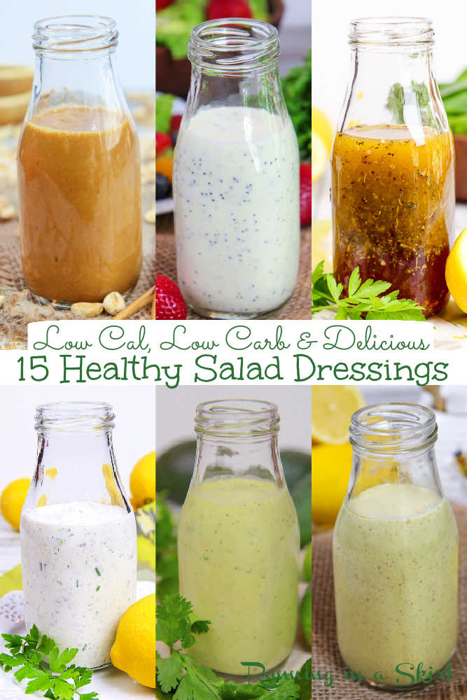 15 Healthy Salad Dressing Recipes - Low Calorie, Low Carb, Clean Eating & Easy to Make. Homemade Salad Dressing recipes including Greek Yogurt Ranch, Avocado Lime, Greek Yogurt Ceasar, Healthy Honey Mustard, Healthy Greek Dressing, Red Wine Vinaigrette, Balsamic, & Thai Peanut Dressing. Skip store-bought and use these for salads, pasta salad, marinades or dips. Vegan, Vegetarian, Whole 30, Low Carb, Keto / Running in a Skirt #cleaneating #vegetarian #vegan #healthyliving #saladdressing #lowcarb via @juliewunder