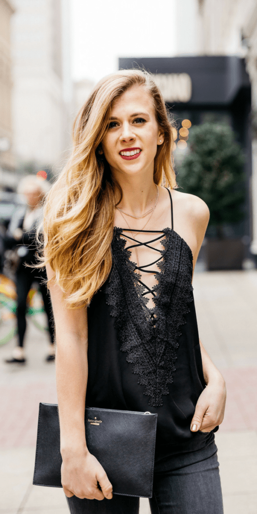 Lace up cami | girls night out outfit | date night outfit | nighttime look | grey jeans | black cami | lace cami | black wedges | summer wedges | black clutch | blonde | Running in Heels