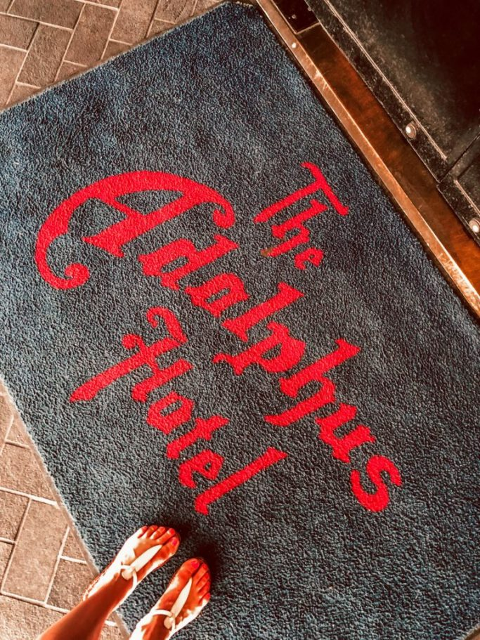 His and Hers Pampering at the Adolphus. Adolphus welcome mat.