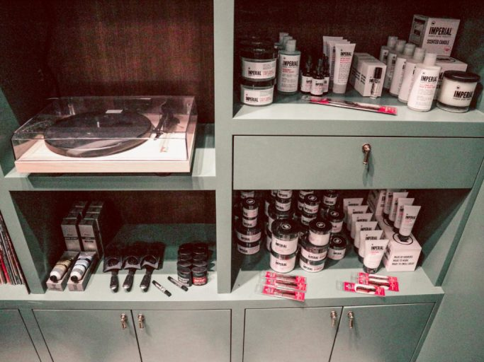 His and Hers Pampering at the Adolphus barber shop shelf with products