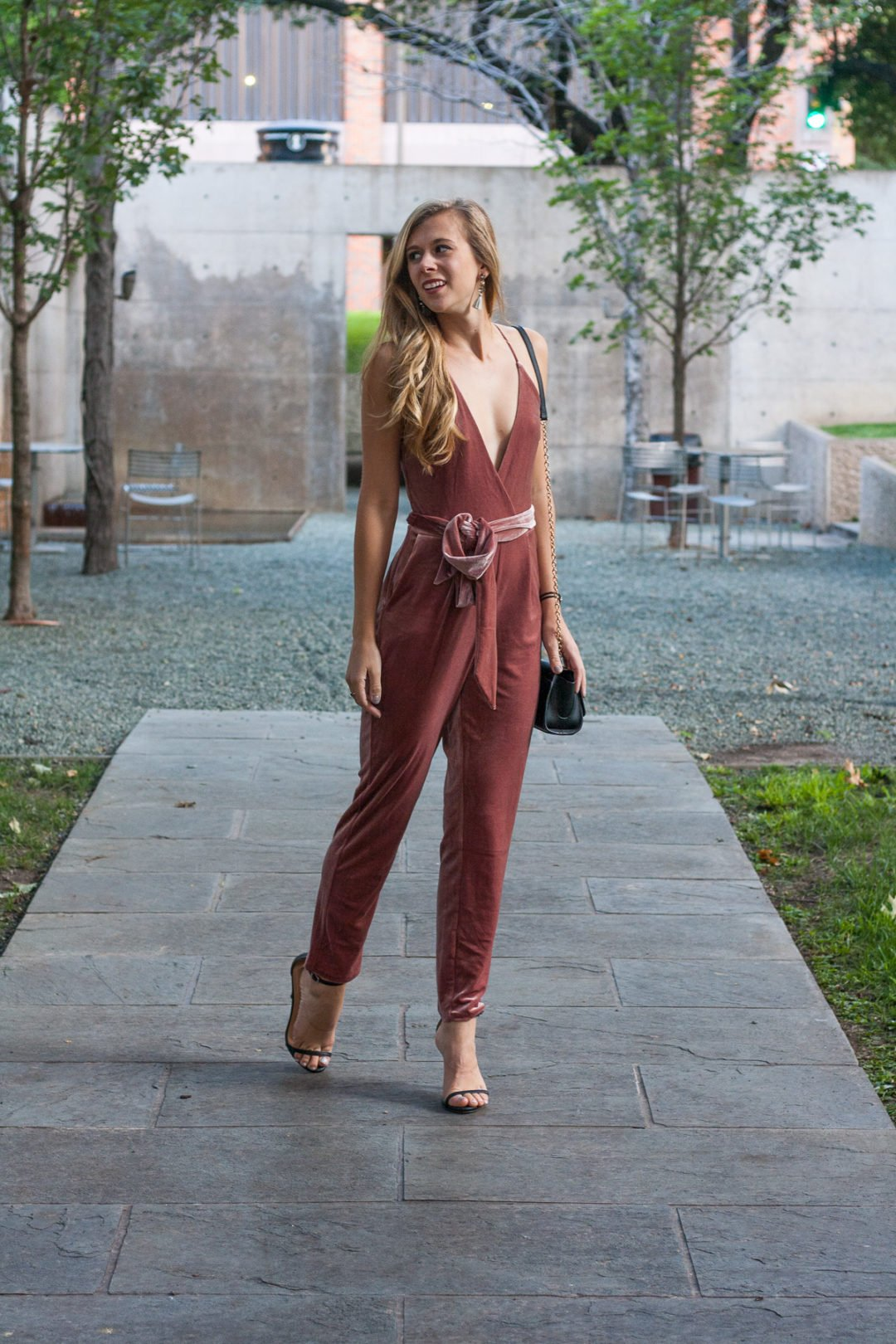 The Velvet Jumpsuit Every Girl Needs in Her Closet This Fall | Running in Heels