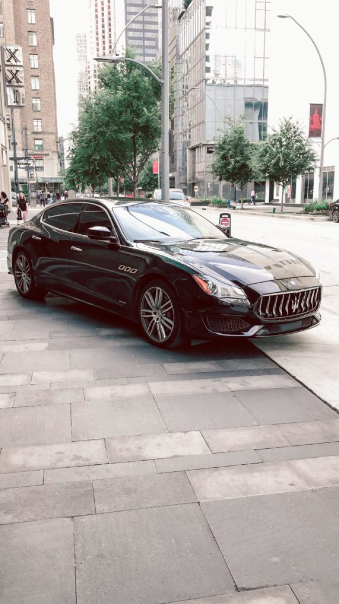 Where to stay in Houston: Hotel Alessandra | black Maserati sits outside of the hotel