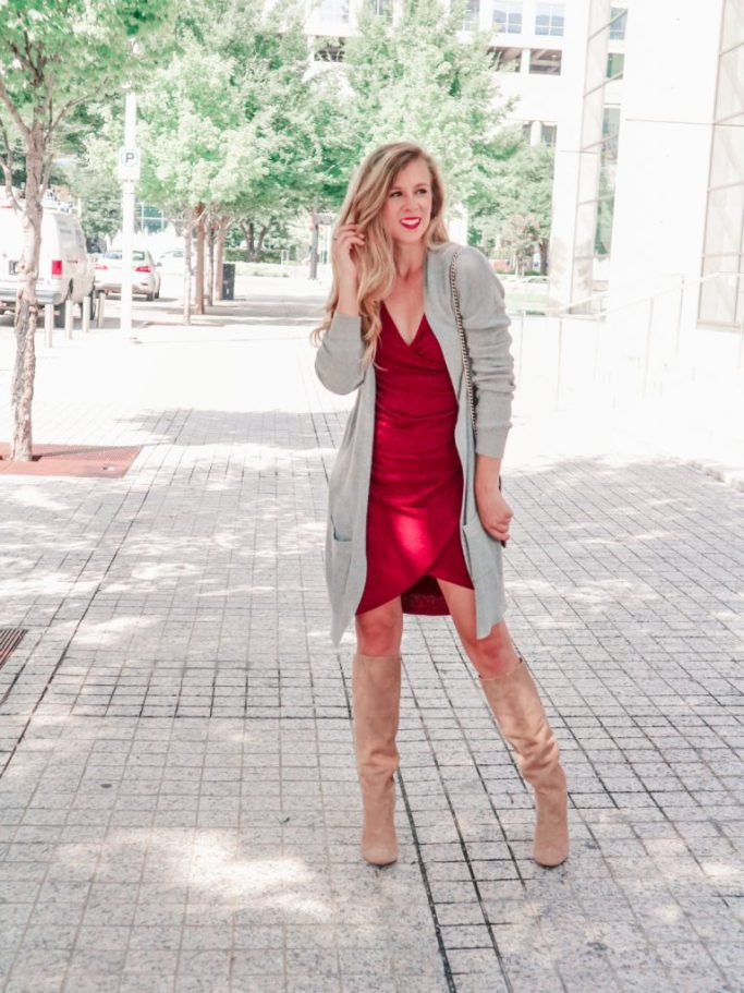 Nordstrom Anniversary Sale Early Access 2018   Running in Heels   Sweater dress   long gray sweater   fall outfit   red dress   knee high boots