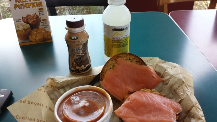 Turkey chili, bagel & lox, and chocolate milk!