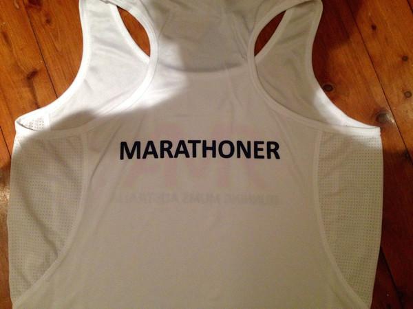 Racer Back White Race Singlet - Marathoner Print on Back