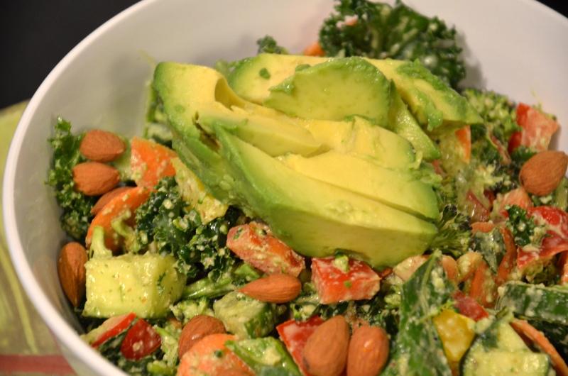 Creamy Almond and Basil Kale Salad