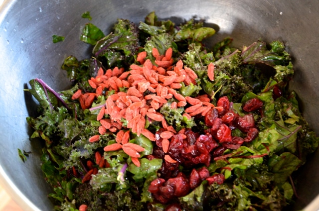 Goji and Cranberries for Kale Salad