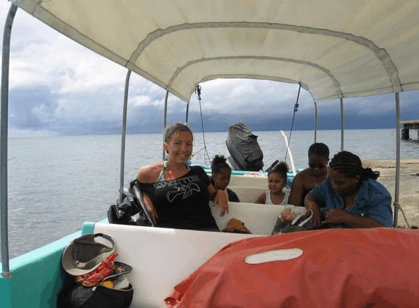 On a boat in Belize