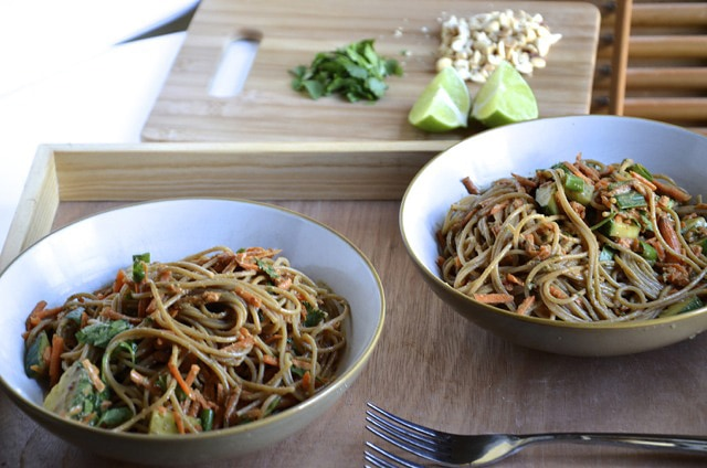 Cold Noodle Salad with Spicy Peanut Lime Sauce