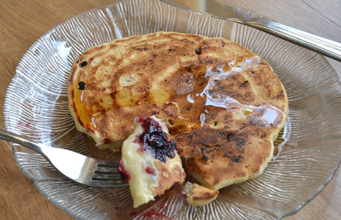Vegan Banana Pancakes with Berries - Oil-Free, Egg-Free, Dairy-Free and easy to make with just a few ingredients.