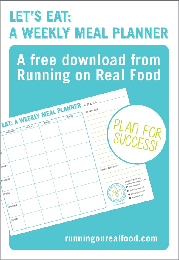 A free weekly meal planner download: plan ahead for healthy eating success!  Room for breakfast, lunch, dinner, snacks, groceries and food prep.