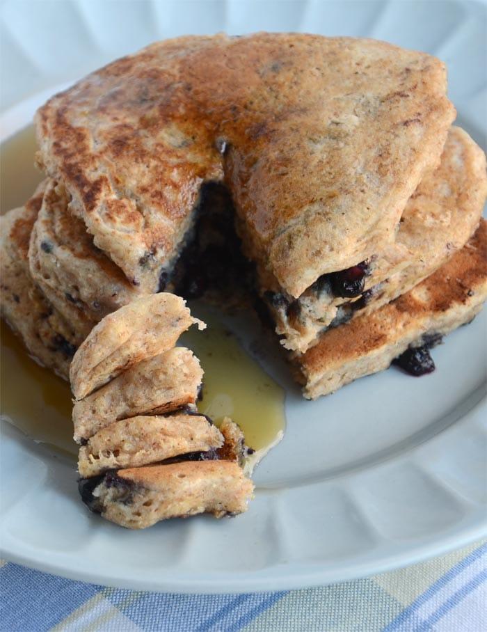Whole Wheat Blueberry Coconut Vegan Pancakes