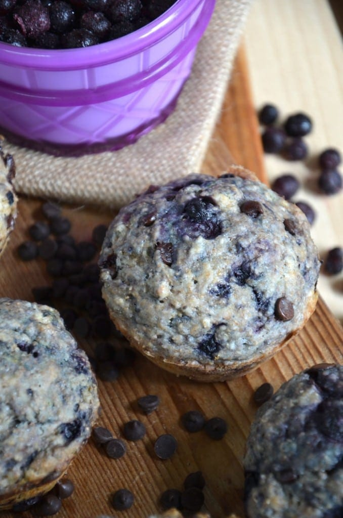 Vegan Blueberry Chocolate Chip Muffins #veganbaking #veganrecipes #veganmuffins