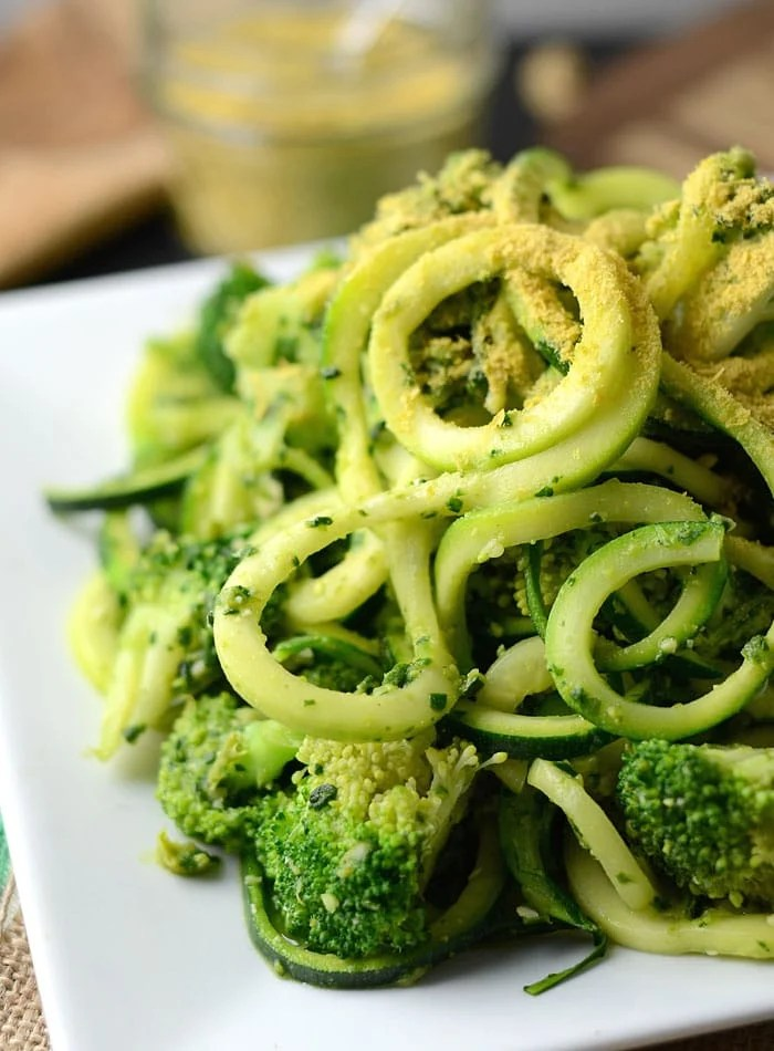 Low Fat Vegan Pesto Zoodles with Broccoli - Gluten-Free, Low Carb, Paleo, Oil-Free