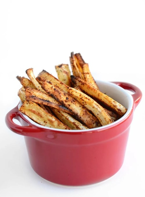 Healthy Chili Garlic Baked Parsnip Fries