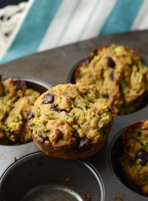 Skinny Vegan Chocolate Chip Zucchini Muffins - Low fat, low carb, easy to make in one bowl!