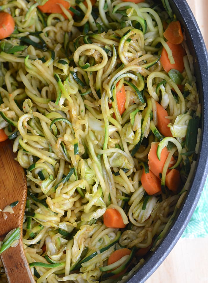 Zucchini Noodle Low Carb Vegan Chow Mein  Quick  Easy
