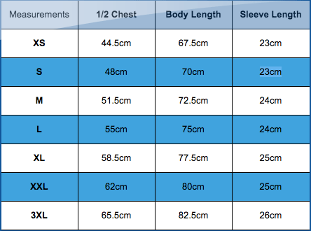 T-shirt sizing from All We Do Is