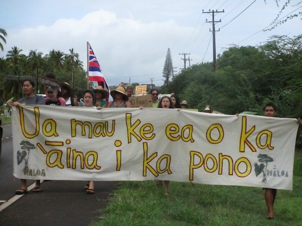 Young residents of Molokai, Hawaii, protest GMOs as part of a month-long series of actions against biotech chemical companies. (WNV/Imani Altemus-Williams)