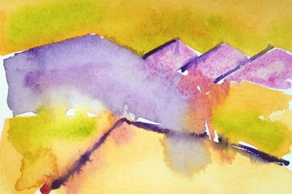 Watercolour Painting - Three Hills