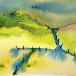 Watercolour painting - Evening Hills