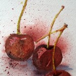 Watercolour painting. Cerises (RWB0019)